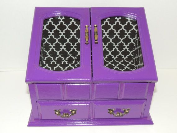Jewelry Box El Paso Purple Black And White Modern Design Jewelry Box  Refurbished