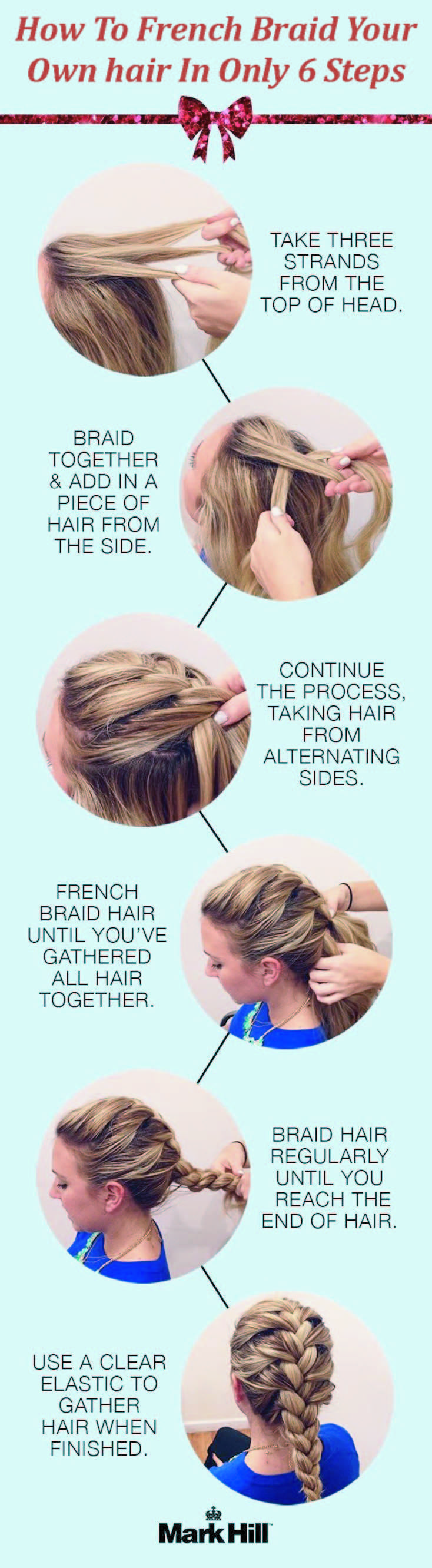 Easy Tutorial Ever To French Braid Your Hair For A Glamorous Look With Images Braiding Your Own Hair Braided Hairstyles Tutorials Medium Hair Styles