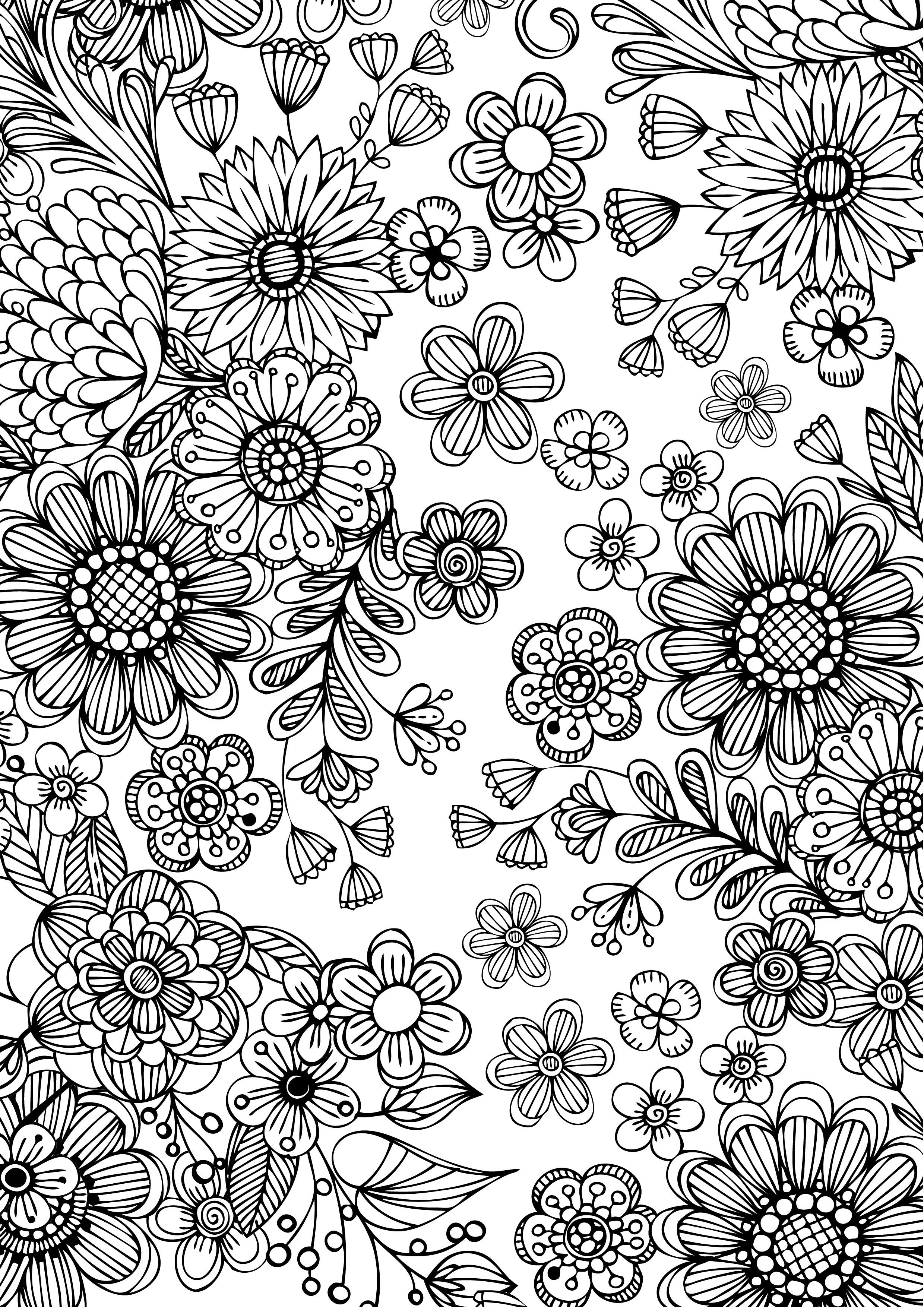 free coloring plate adult with spectrum noir floral coloring