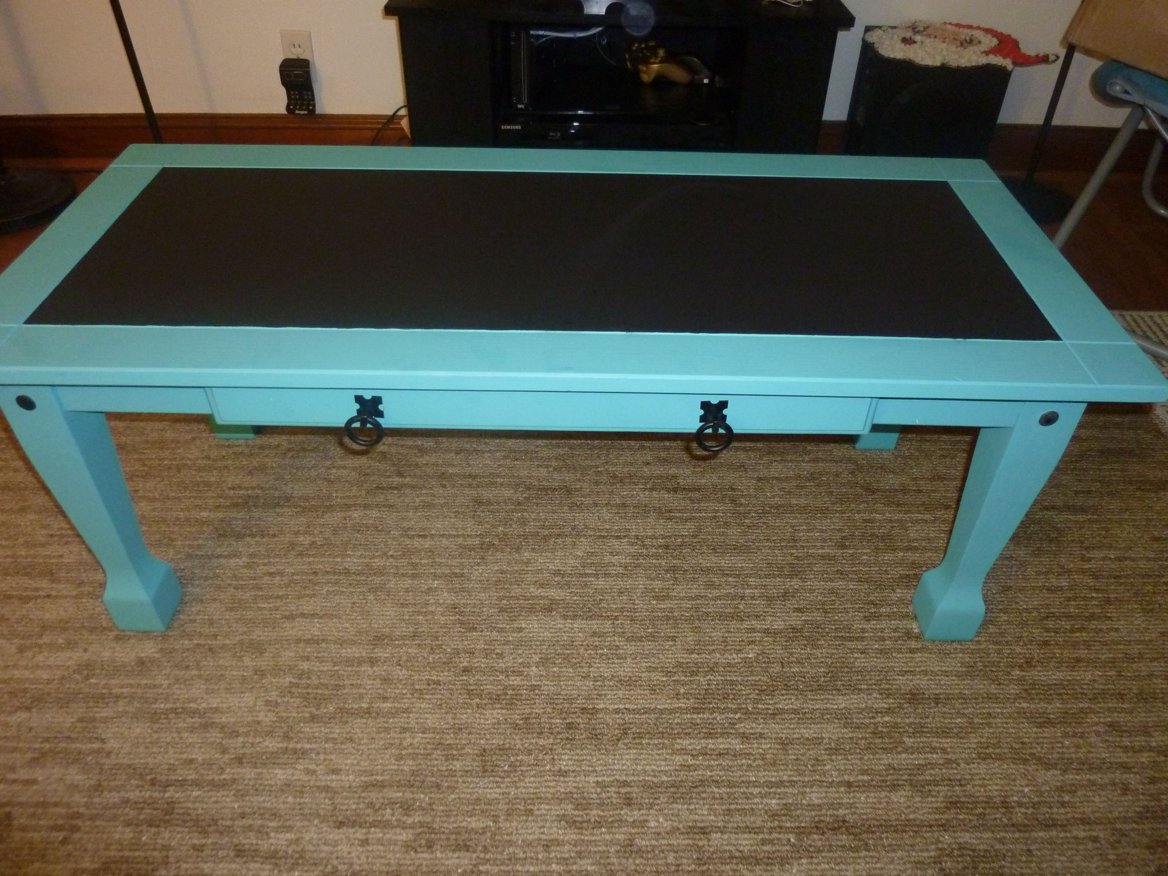Our teal chalkboard paint coffee table dwell pinterest our teal chalkboard paint coffee table geotapseo Gallery