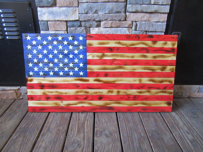 Welder Builds Wood American Flag Metaldisorder 20 X 37 Red Etsy American Flag Wood Red Wood Stain Staining Wood