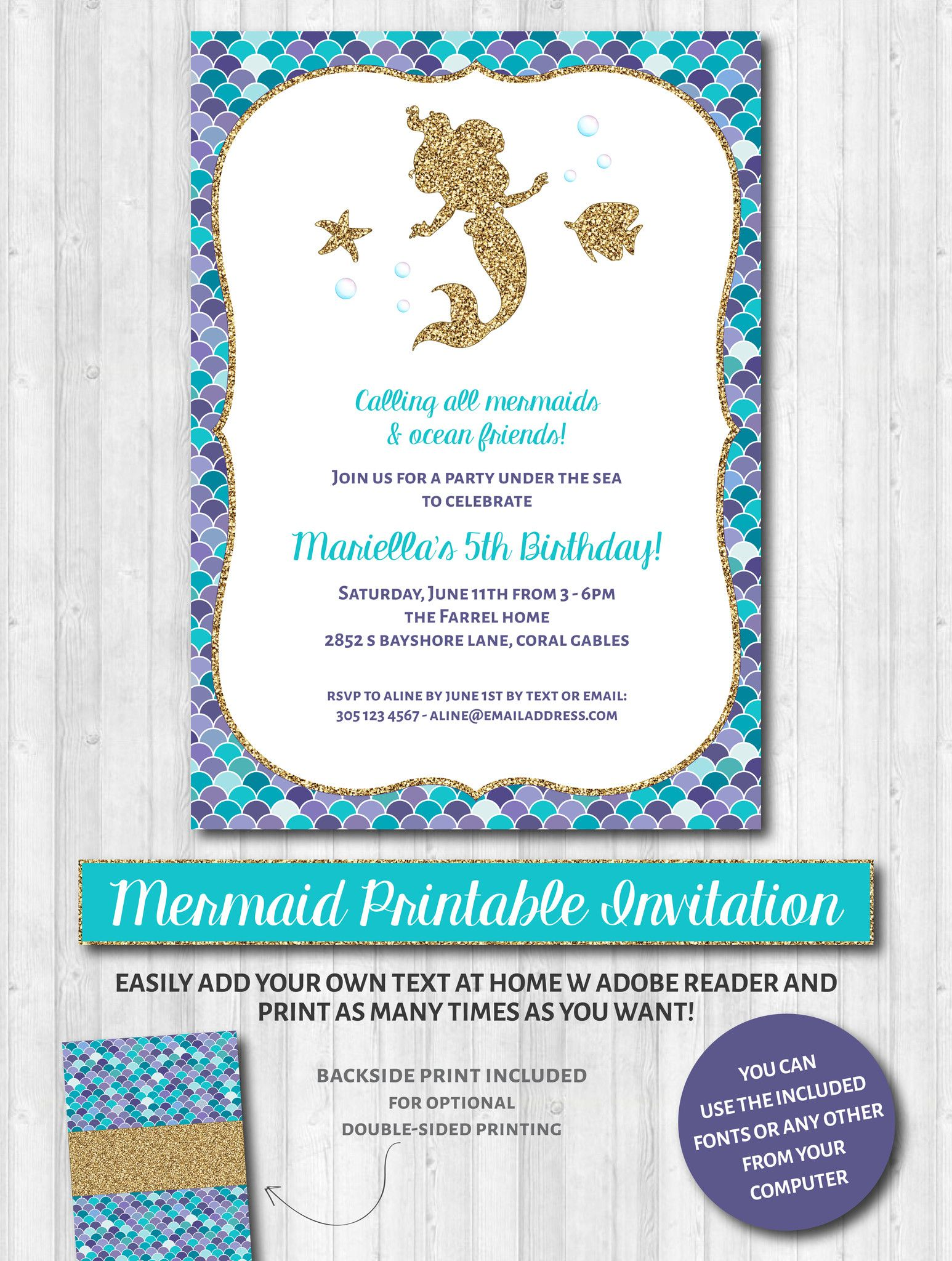 Mermaid Party Invitations: Aqua, purple & gold glitter | Mermaid ...
