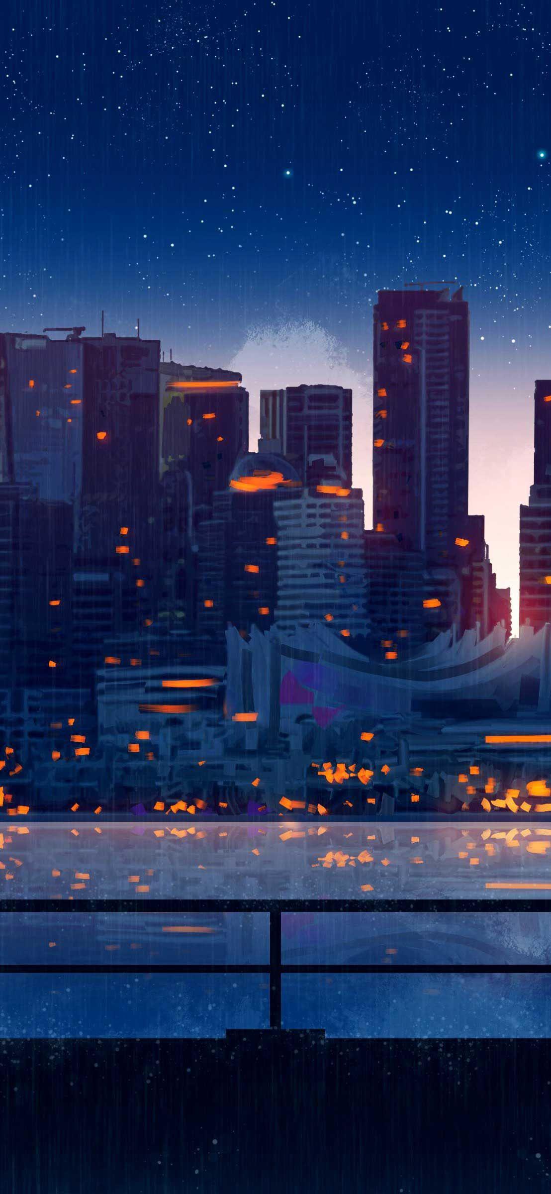 Anime City Lights Night Rain Umbrella Sky K Ou Iphone Pro Ma Wallpaper City Lights Wallpaper Anime City Night Rain Anime city iphone wallpaper