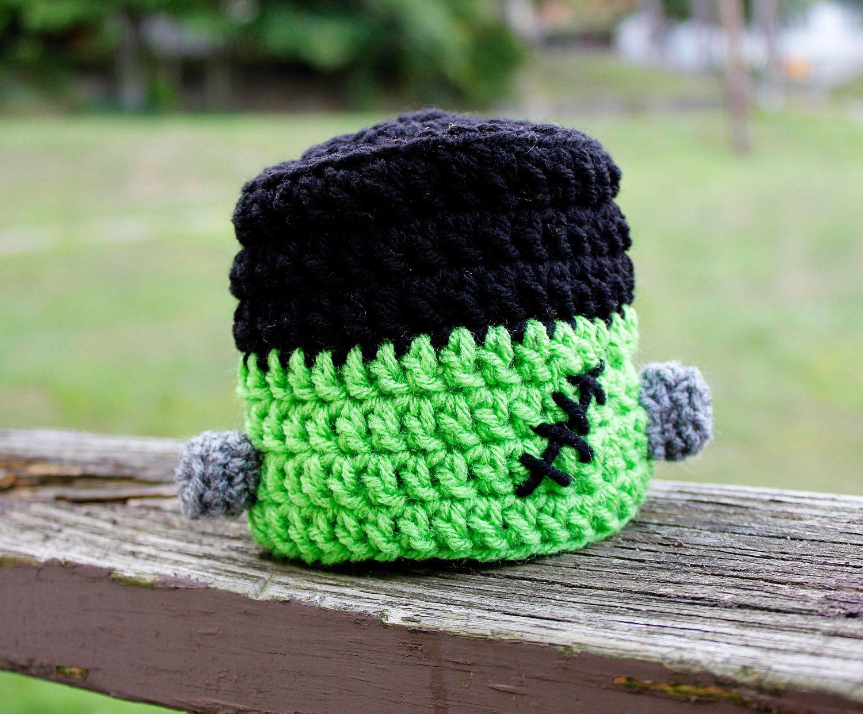 Newborn, Infant, Child Size Crochet Halloween Frankenstein Hat ...