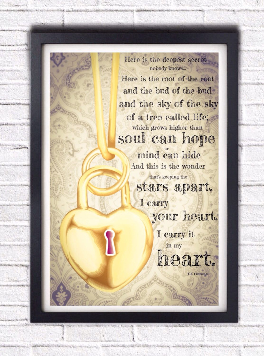 I Carry Your Heart, E.E. Cummings Poem Literary Poster Print ...