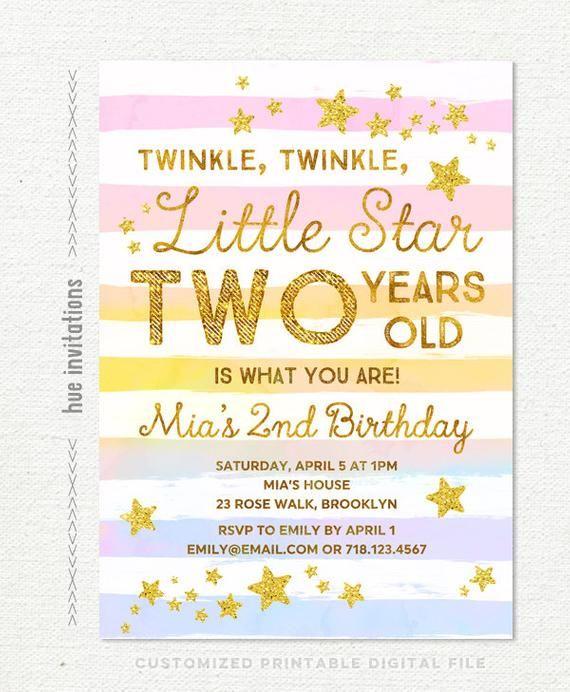 Twinkle Little Star Birthday Invitation Girl Rainbow 2nd