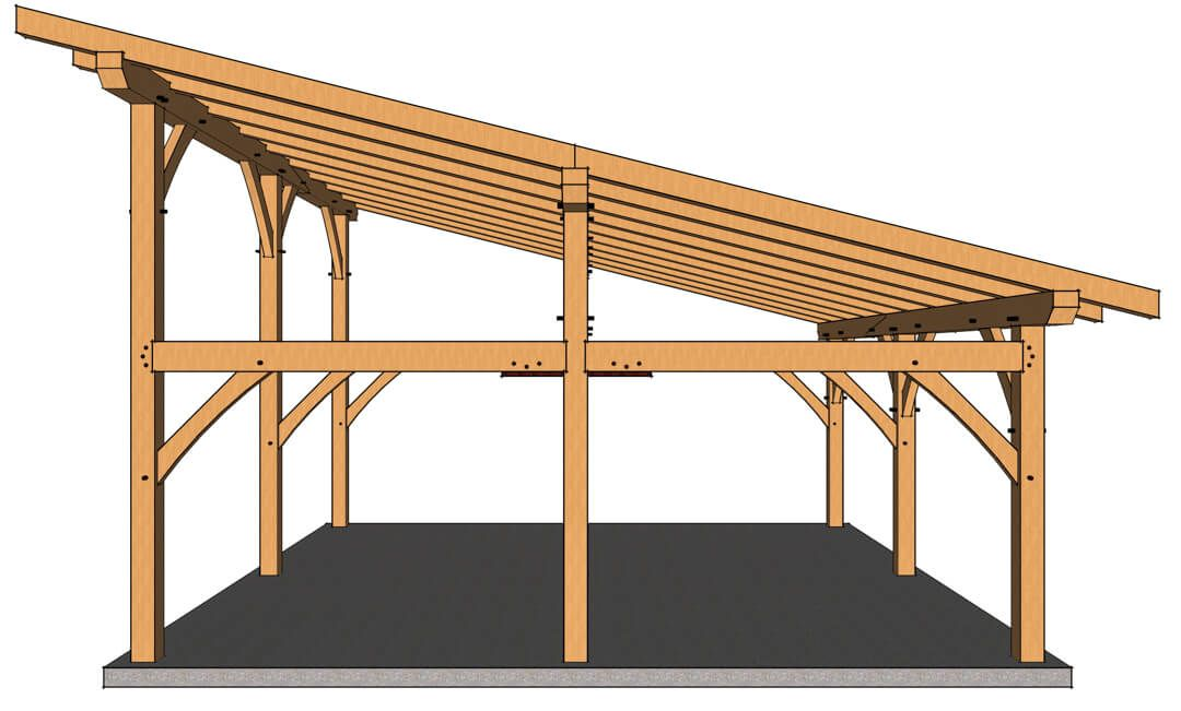 24x24 Shed Roof Outbuilding Timber Frame Hq Timber Roof Building A Carport Wood Roof