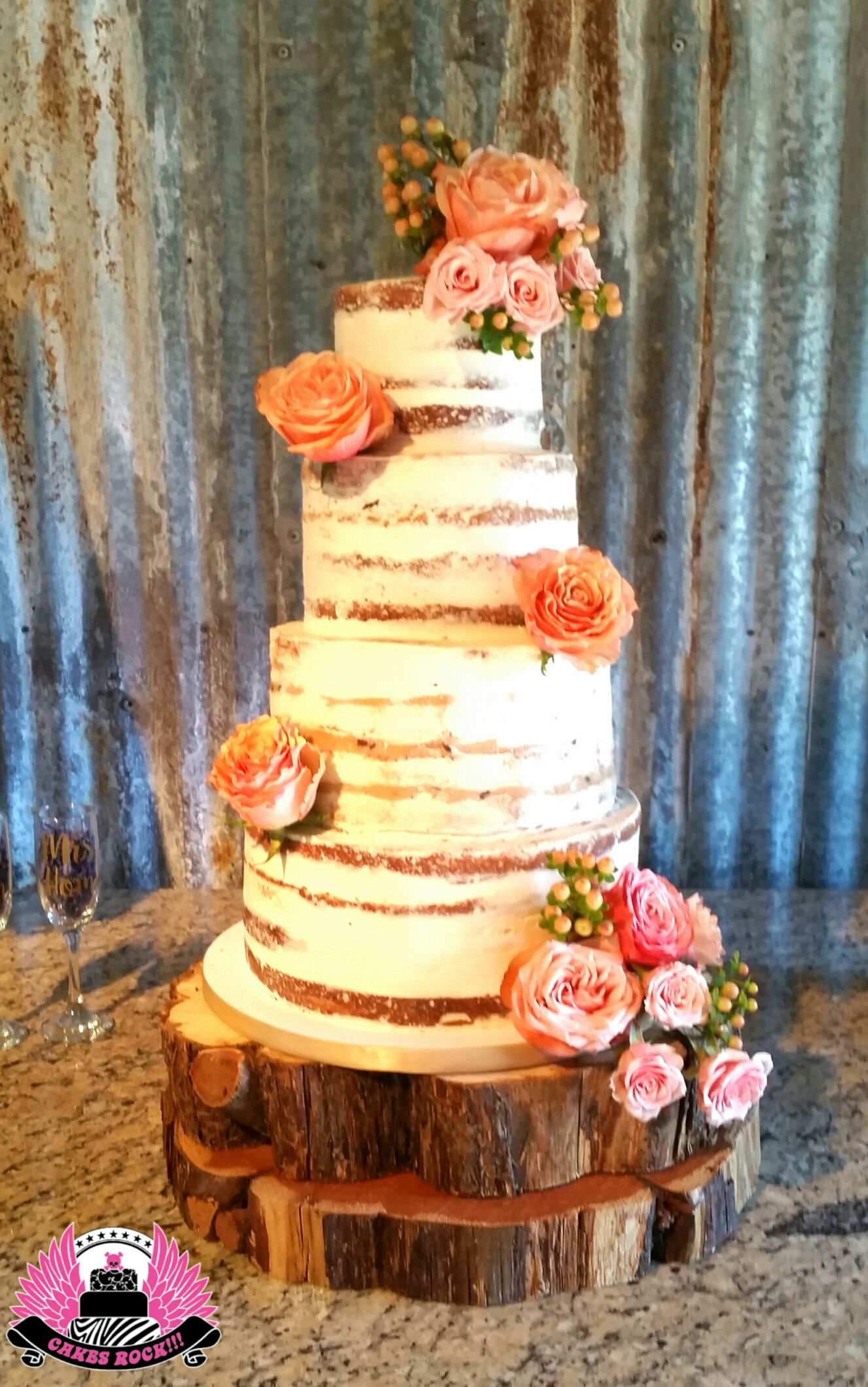 Gorgeous naked cake for a Hill Country destination wedding. Cakes ...
