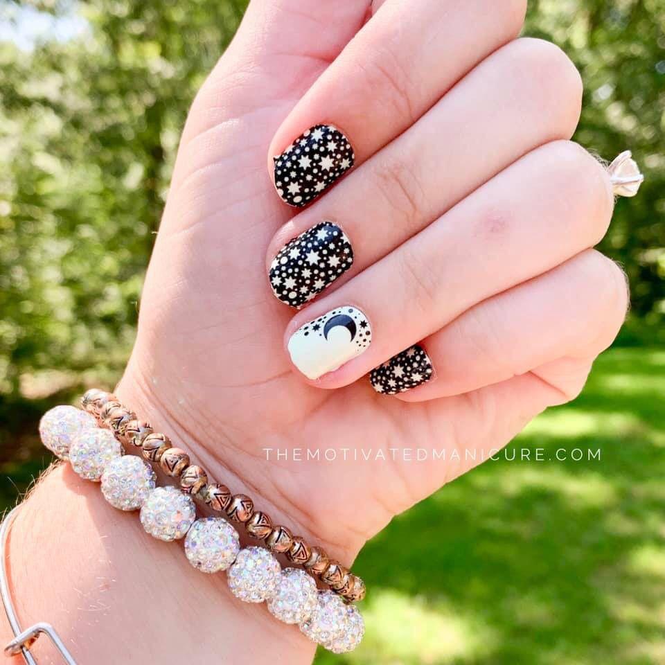 Moon And Stars Manicure Nail Art Color Street Nails Nails Nail Store