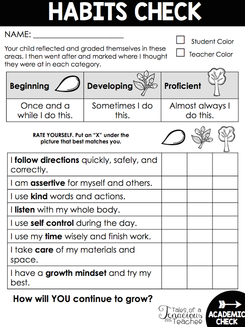 From Report Cards To Parent Teacher >> Free Habits Checklist Perfect For Parent Teacher Conferences And