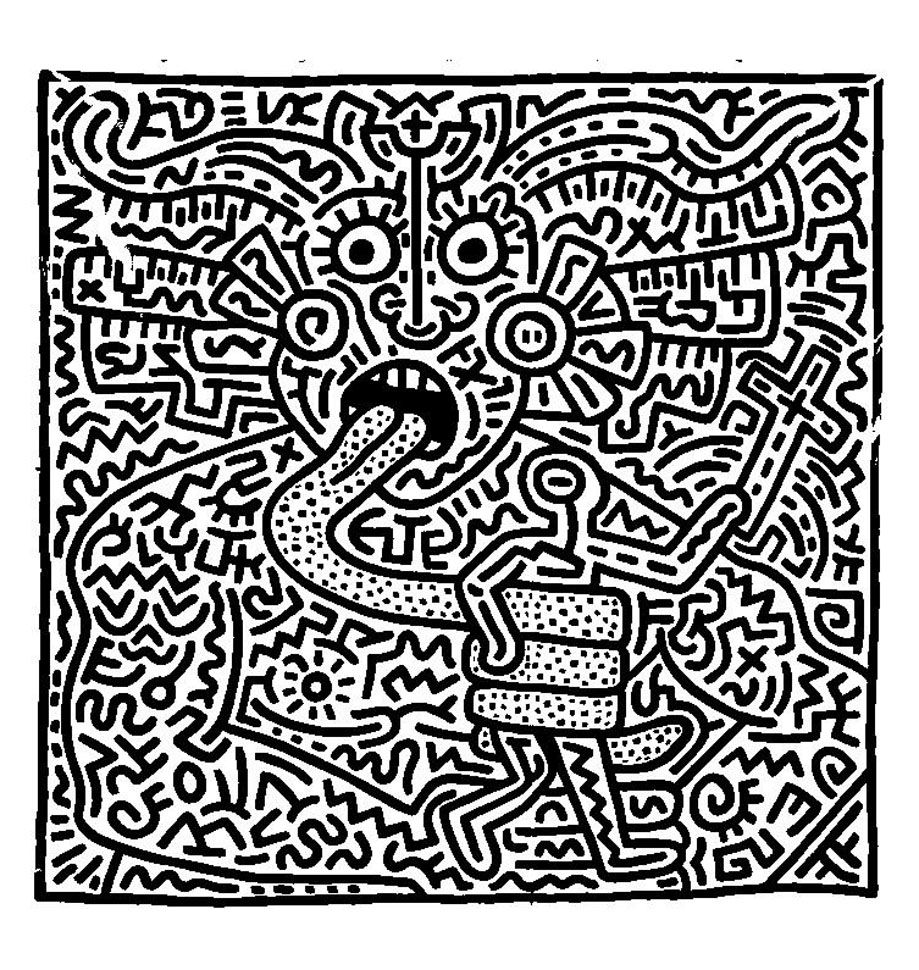 Free Coloring Page Coloring Adult Keith Haring 1 Keith Haring