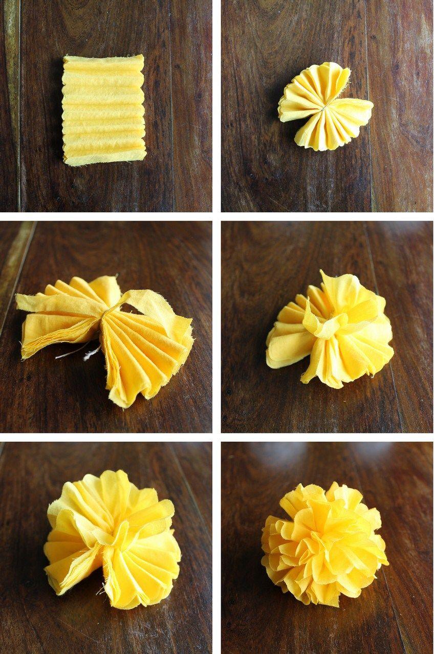 Yellow sunshine boréales guirlande fleurs tissu , DIY , Miss Blemish
