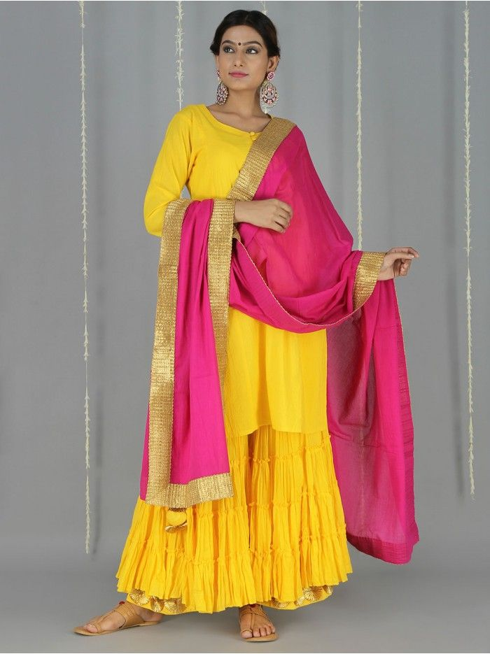 2d82d11756 Yellow Pink Cotton Sharara Suit | Traditional in 2019 | Sharara suit ...