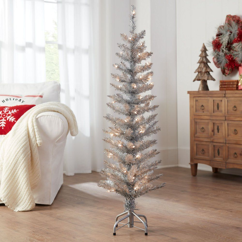 Holiday Time Pre Lit Silver Tinsel Christmas Tree 4 Clear Walmart Com Tinsel Christmas Tree Silver Tinsel Christmas Tree Rose Gold Christmas Tree