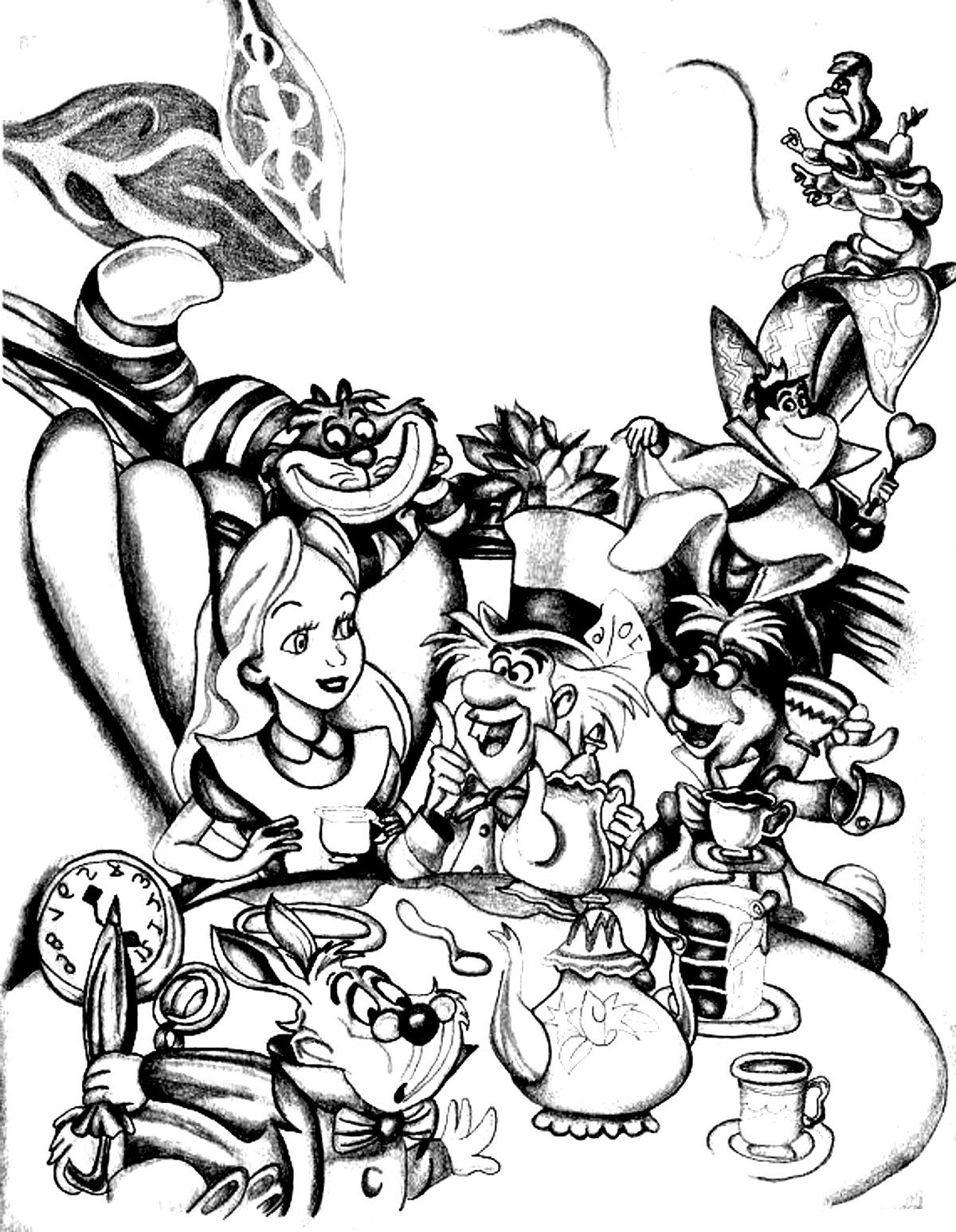Free coloring page coloring adult disney drawing alice in wonderland