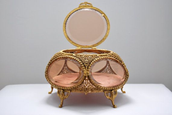 Vintage Large Gold Plated Filagree Ormolu Jewelry Casket with Rose