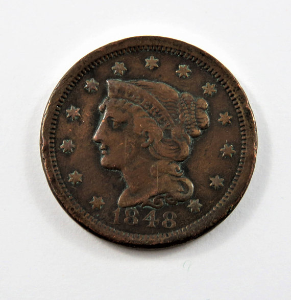 U S 1848 Braided Hair One Cent Coin Etsy Coins Antique Coins Coin Collectors