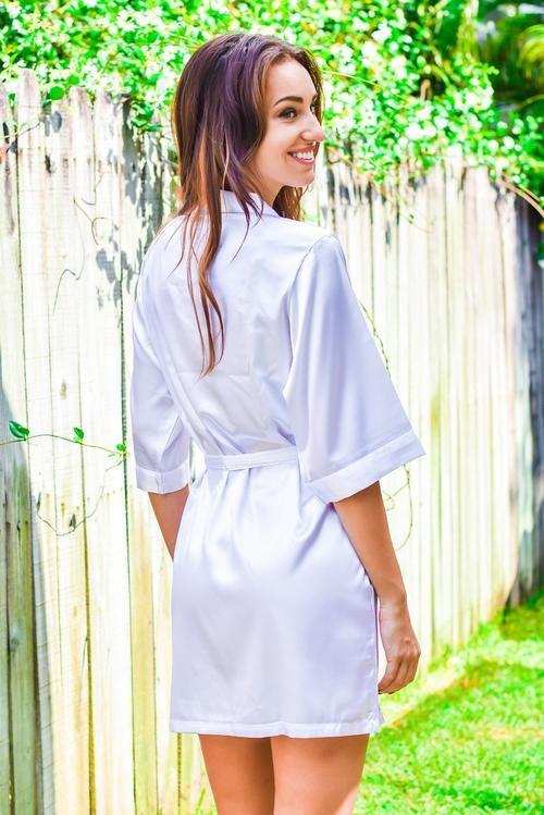 Beautiful White Satin Bridesmaid Robe by Kadlee. Premium 0b1098942