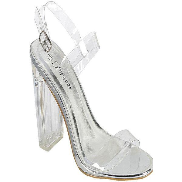 de8399bc35f Silver open toe chunky clear transparent perpetual perspex high heel (395  MXN) ❤ liked