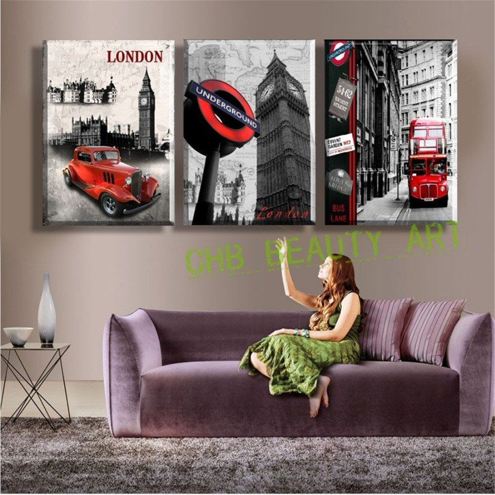 Wall Art Paintings For Living Room 3 Panel Wall Art Paintings Famous London Building Wall Pictures