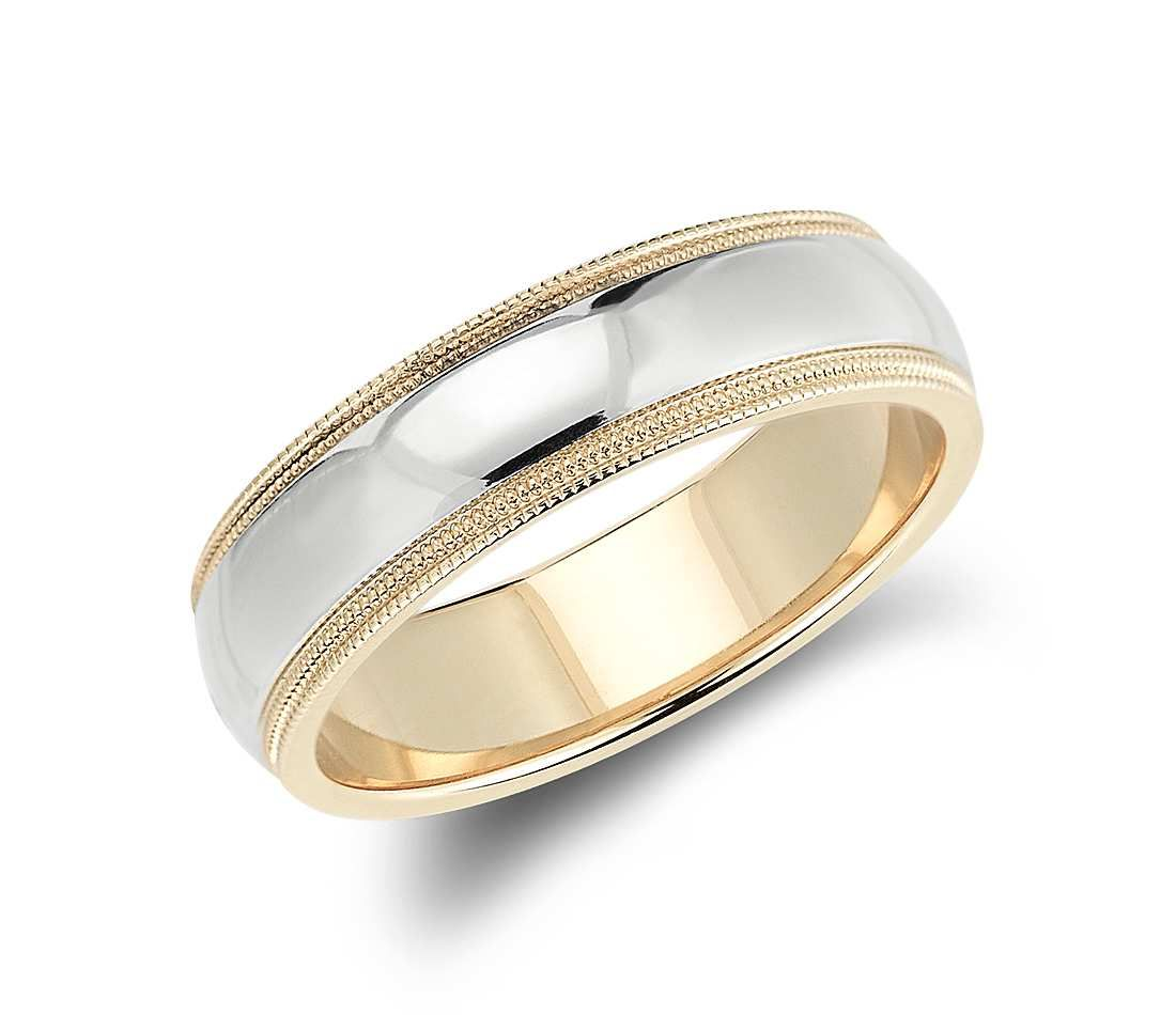 Double milgrain comfort fit wedding ring in 14k white and