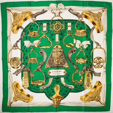 """#Hermes Green, Gold, and Brown """"Etriers,"""" byFrancoise de ..."""