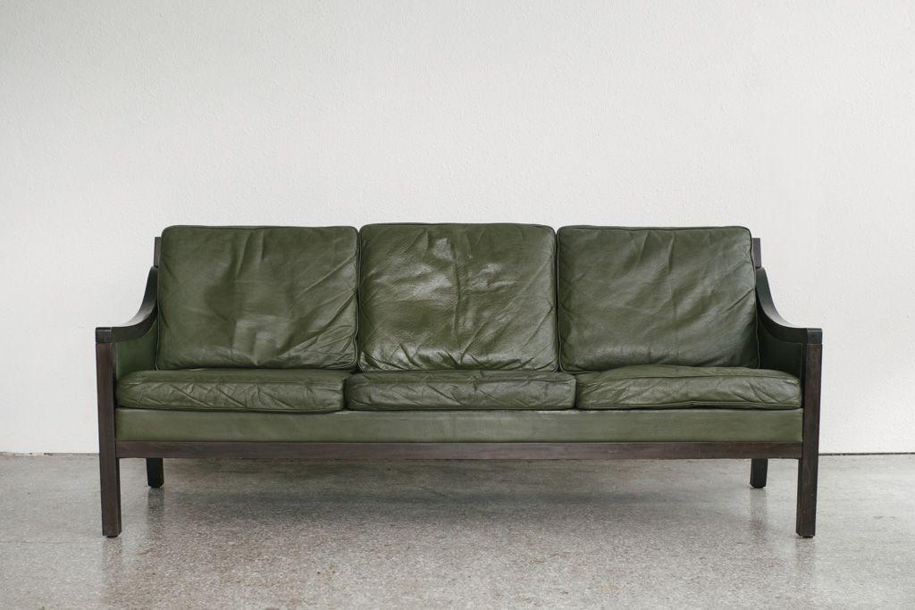 vintage green leather sofa Drexel | Homestead Seattle in 2019 ...