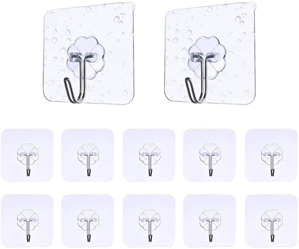 Haken Selbstklebend Handtuchhaken 12 St/ück Max 8kg Karrong Transparent Ohne Bohren Klebehaken Haken f/ür Badezimmer K/üche Bad