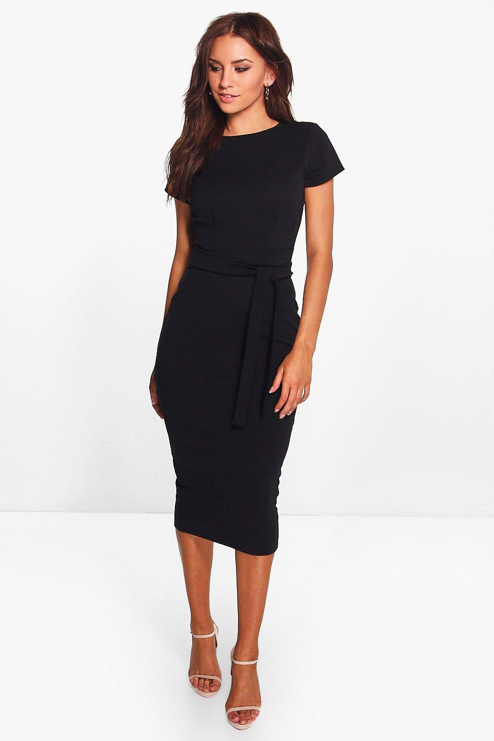 Pleat Front Belted Tailored Midi Dress Boohoo In 2021 Midi Dress With Sleeves Clothes Bodycon Fashion [ 1500 x 1000 Pixel ]