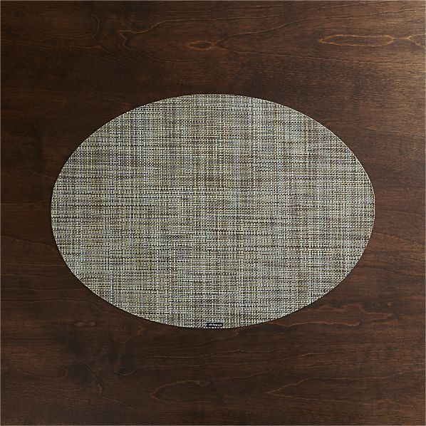 Chilewich Mini Basketweave Pistachio Oval Vinyl Placemat Crate And Barrel Placemats Basket Weaving