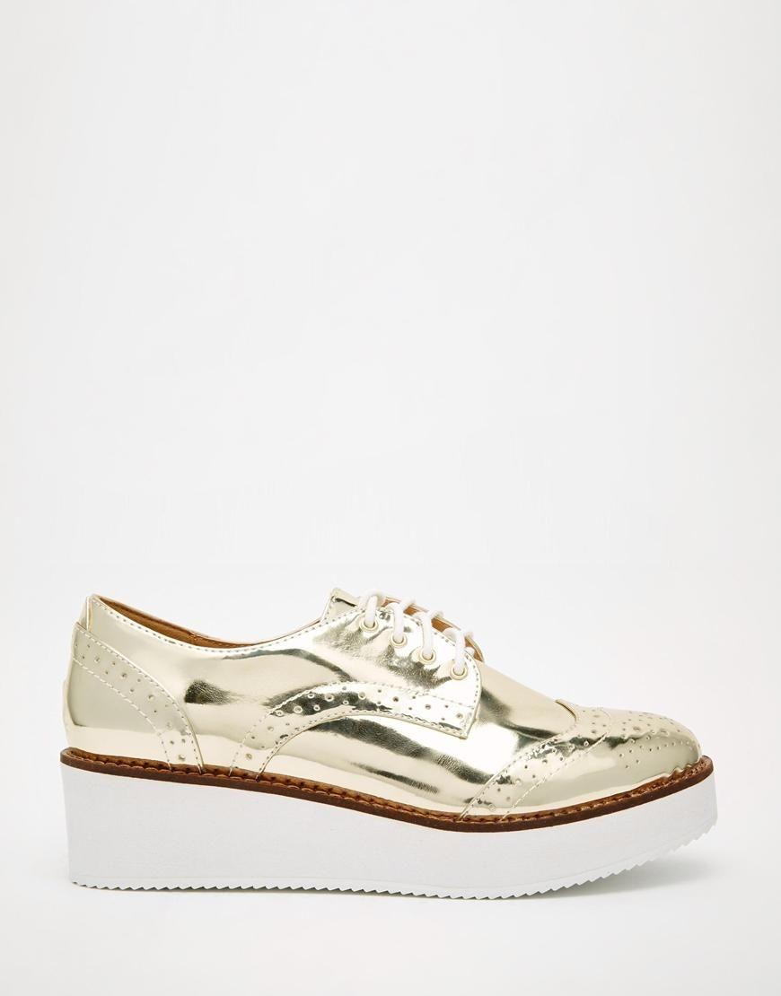 Buy Women Shoes / Aldo Tabbori Gold Flatform Shoes