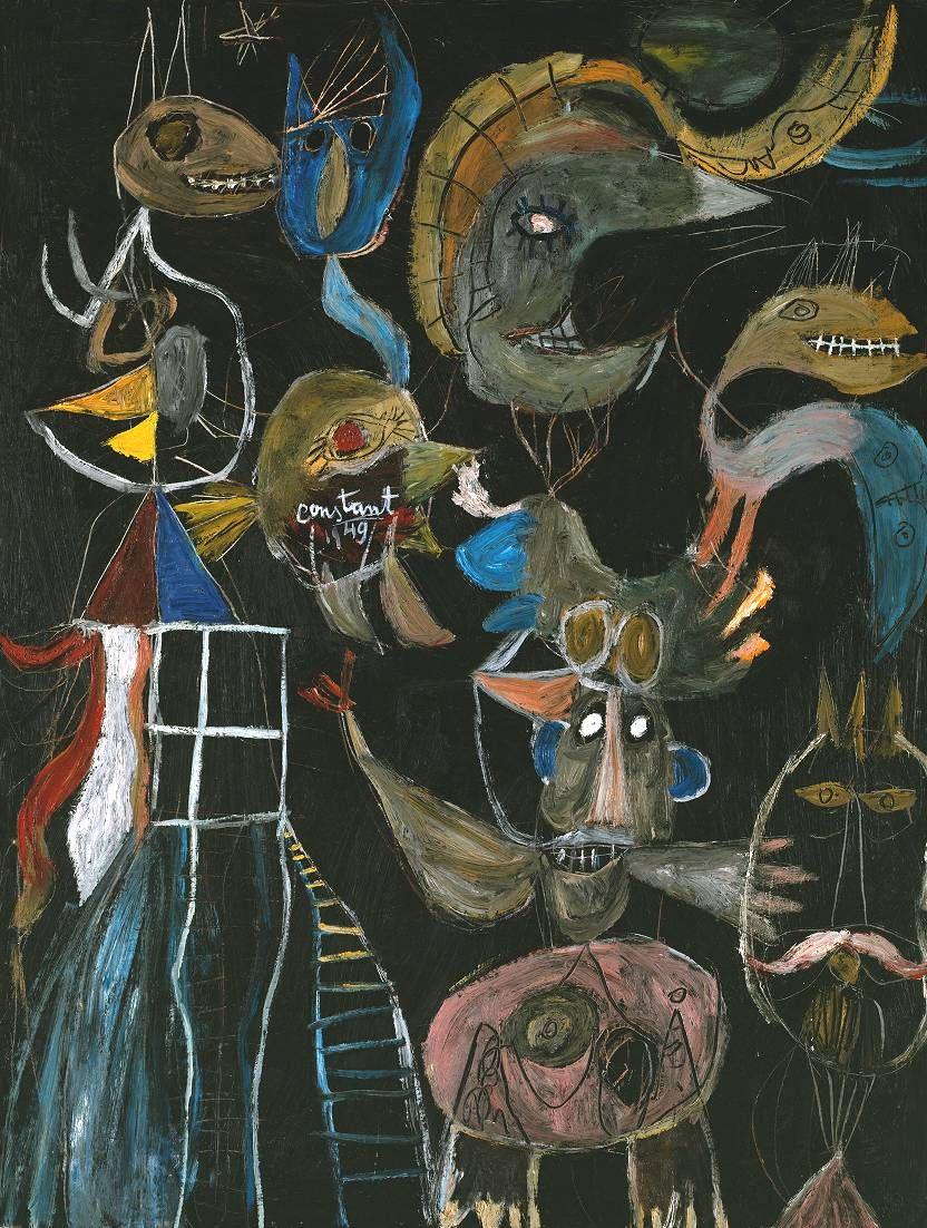 Constant (Constant A. Nieuwenhuys) After Us, Liberty (1949) Unten ist eine Leiter zu sehen, symbolisch die Himmelsleiter und Weltachse.