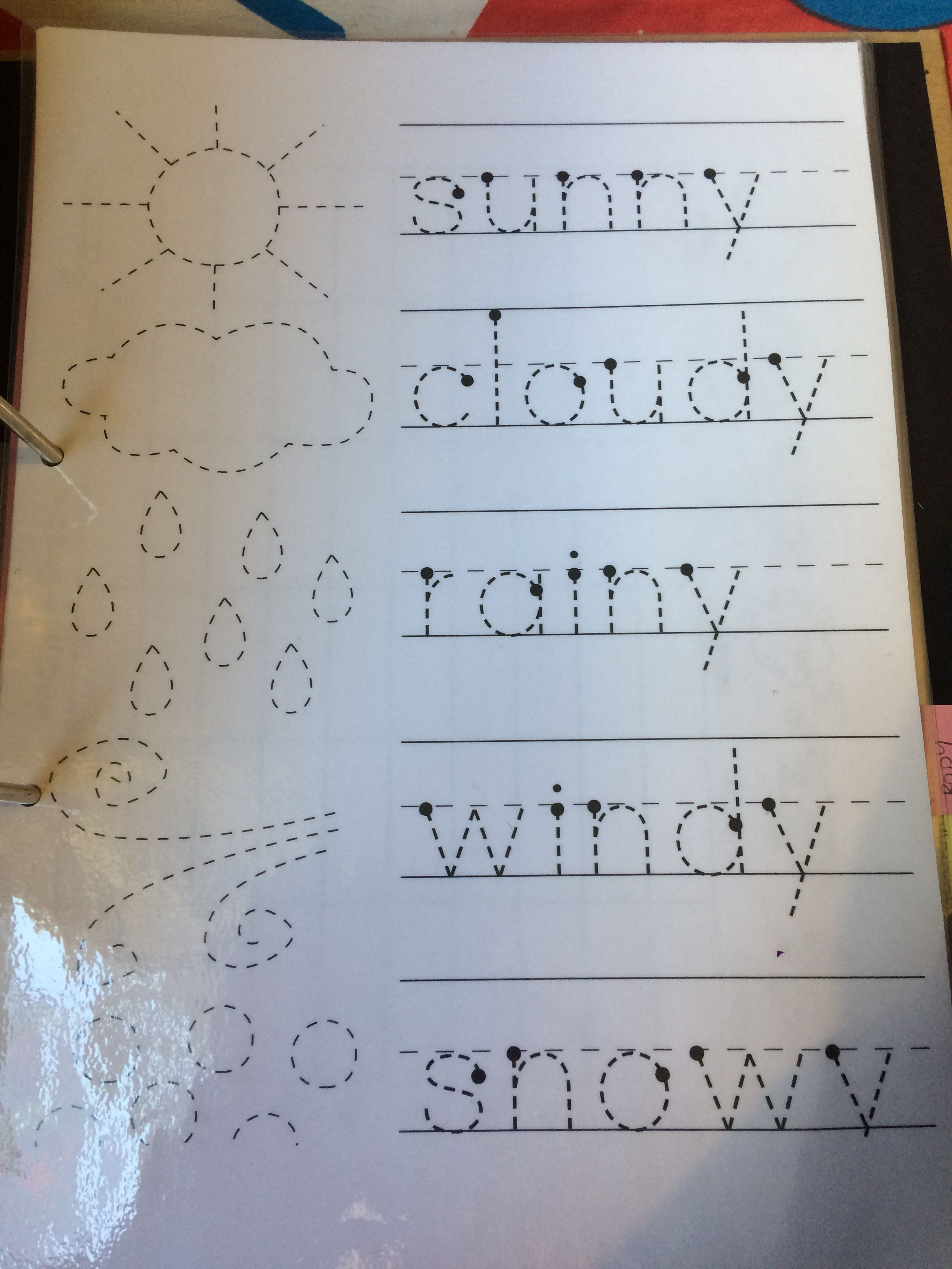 Letter Tracing In The Weather Theme