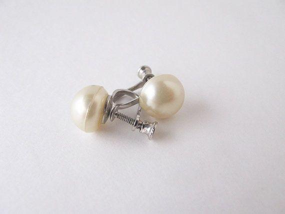 Pearl white pearl earrings screw screw ons clip on by AlbertsAttic