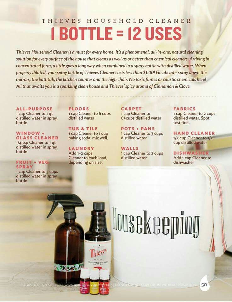 Thieves Dilution Chart Thieves Household Cleaner Essential Oils