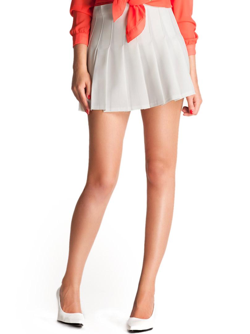 White High Waist Pleated Mini Skirt | Choies