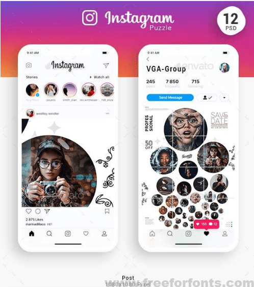 Instagram Puzzle Templates Free fonts download