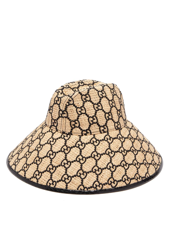 Gg Embroidered Raffia Hat Gucci Matchesfashion Us Raffia Hat Gucci Hats