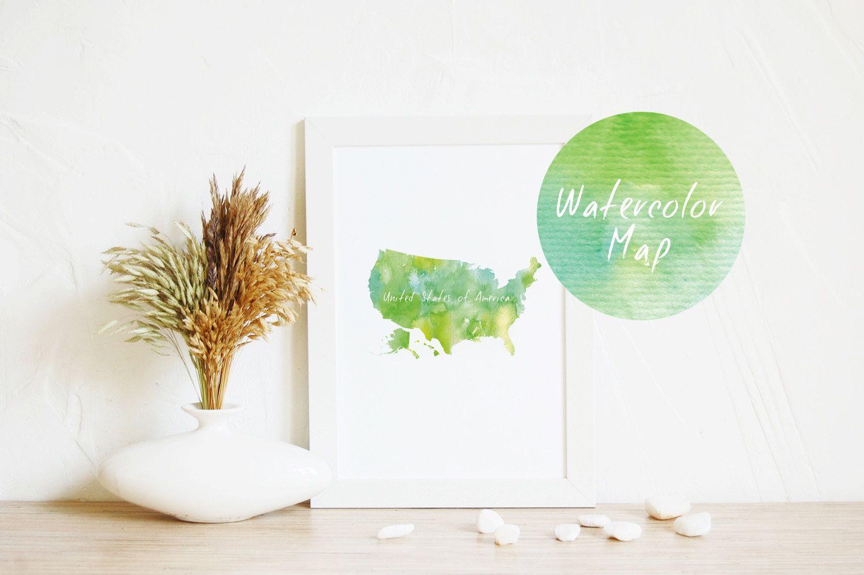 Art Print USA Map Green Art Map Art Print At Home Art Gift - Map of usa for sale