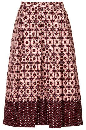 Tile Border Midi Skirt