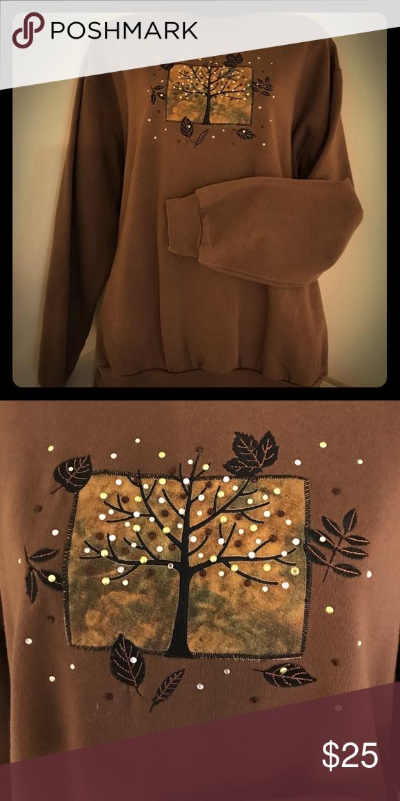Sweatshirt ladies fancy Ladies fancy fall decorative sweatshirt! Very festive! Brown with little sequences throughout!! Worn only twice !! 😉 Tops Sweatshirts & Hoodies