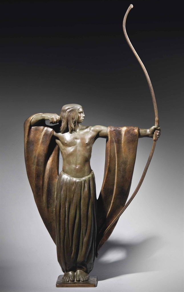 Art Deco The Archer Patinated and Gilt Bronze Statue (c.1930) by ...