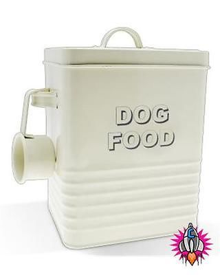 Vintage Retro Style Cream Enamel Large Dog Food Storage Container