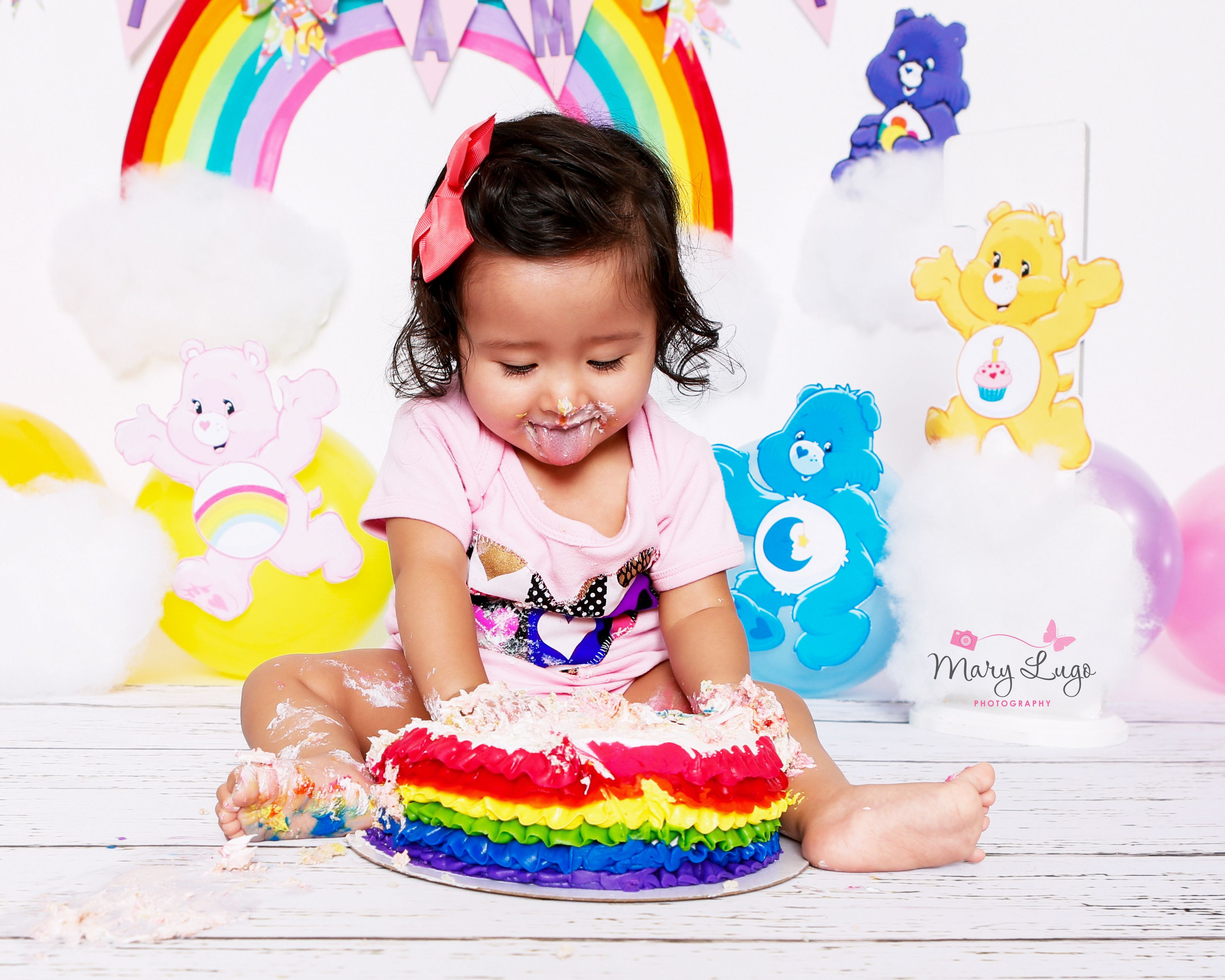 Care Bear Themed First Birthday Cake Smash Photography Ideas For - Cake smash first birthday