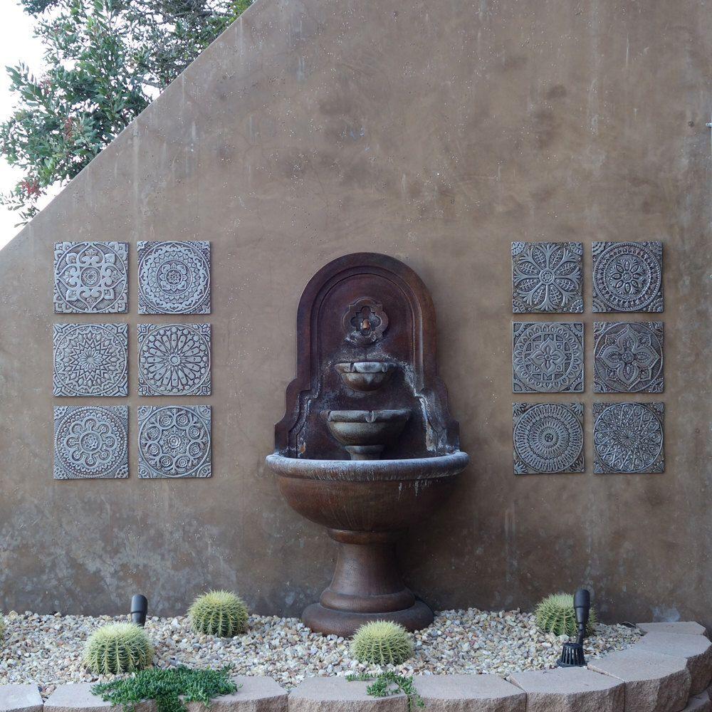 Outdoor Wall Art Ceramic Tiles For Garden Decor Silver Tiles Yard Art Outdoor Wall Decor Ceramic Wall Art Outdoor Wall Decor 30cm Outdoor Wall Decor Ceramic Wall Art Outdoor Wall Art