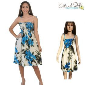 dcfe93accc16 Mother Daughter Cream & Blue Leaf Tube Dresses Matching Hawaiian  #hawaiiandress #matchymatchy #cruisewear