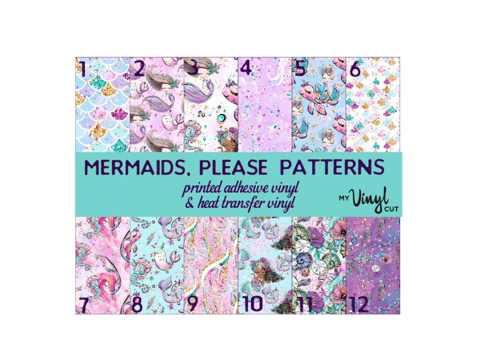 Printed Vinyl Mermaids Please Patterns 12 X 12 Inch Sheet Of Etsy Prints Vinyl Temporary Adhesive
