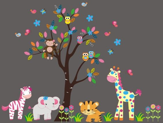 Owls Jungle Animals Wooden Bedroom Furniture Kids: Jungle Animal Wall Decals-Jungle Animal Wall Decals With