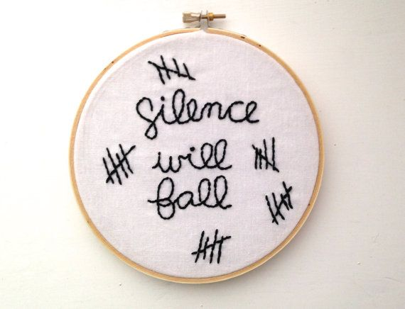 Doctor Who Silence Will Fall Hand Embroidery in by TotallyBarbaric