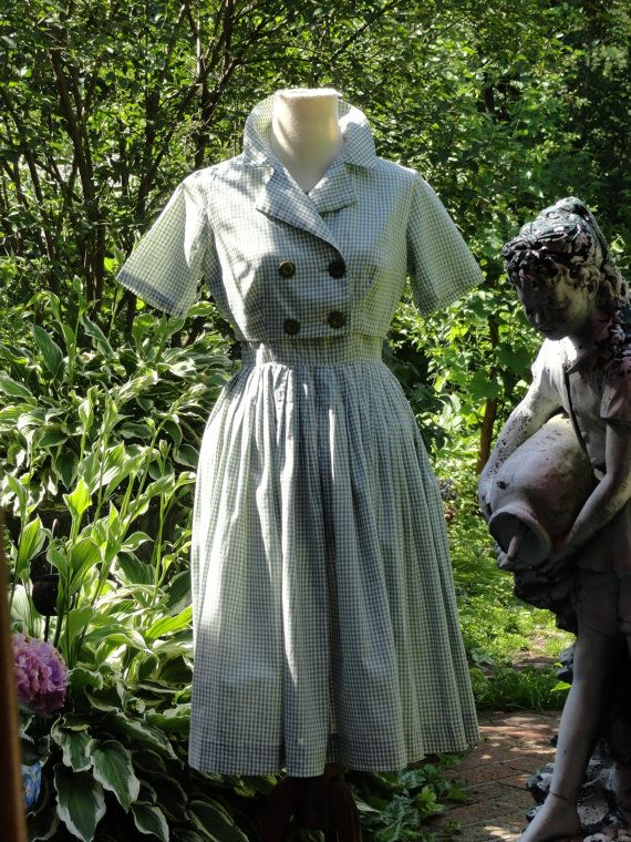 1950's Betty Barclay Green & White Gingham by viviennesvintage, $68.00